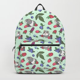 Guinea Pig Pattern in Mint Green Background with mix berries Backpack
