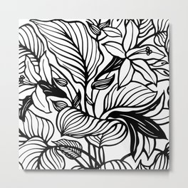 White And Black Floral Minimalist Metal Print