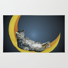 Cat and Moon Rug