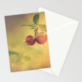 Macro shot of cowberry growing in forest Stationery Cards