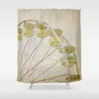 ferris wheel Shower Curtains featuring Ferris Wheel by Melissa Lund
