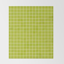 Acid Green - Green Color - White Lines Grid Pattern Throw Blanket