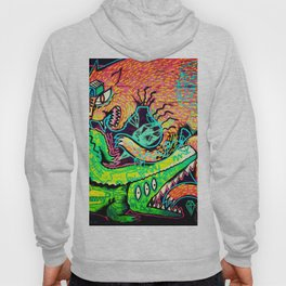 Alligator Wrestling With Cat Painting Hoody