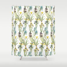 Vintage Floral Pattern   No. 2B   Iris Flowers   Irises Shower Curtain