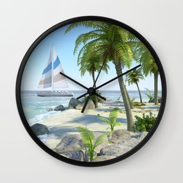 Tropical Island Paradise Wall Clock