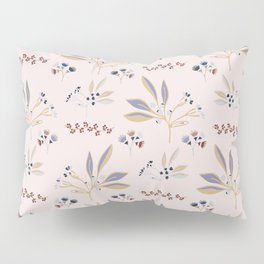 Pink Natural Leaf Berry Branch Vector Pattern, Pillow Sham
