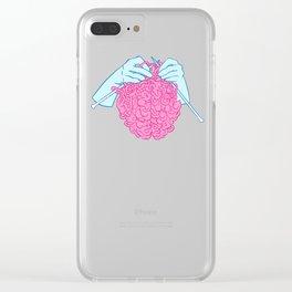 Knitting a brain Clear iPhone Case