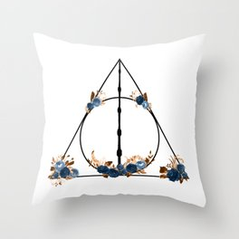 Deathly Hallows in Blue and Brown Throw Pillow
