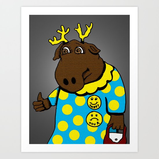 "Moody Moose Says: Everything is ""A OK"", for now Art Print"