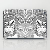 planet of the apes iPad Cases featuring Rise of the Dawn of the Planet of the Psychedelic Apes by The Rural drawer by Inky Doodles