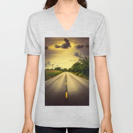 Louisiana Highway 82, an ample opportunity to see gators crossing the road Unisex V-Neck