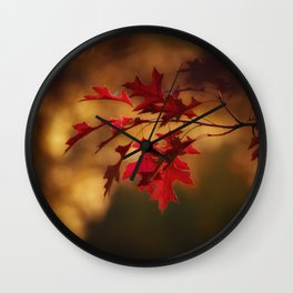Red Maple Leaf Autumn Colors Photography Wall Clock