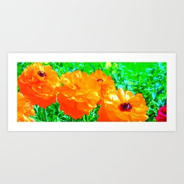 Electric Orange Flowers Art Print