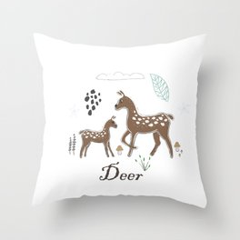 Cute Winter Icon with Deer. Hand Drawn Scandinavian Style Throw Pillow