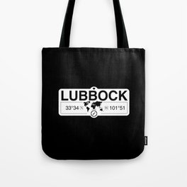 Lubbock Texas Map GPS Coordinates Artwork with Compass Tote Bag