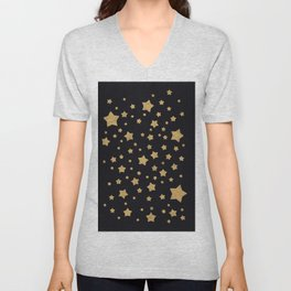 Gold Stars on BLack Unisex V-Neck