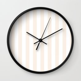 Narrow Vertical Stripes - White and Linen Wall Clock