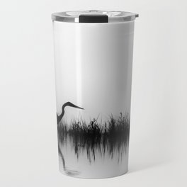 A Great Blue Heron Hunts for Food During a Foggy Morning on the Yellowstone River Travel Mug