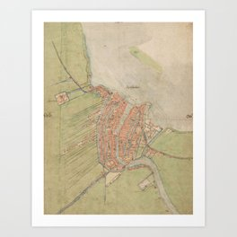 Vintage map of Amsterdam (1560) Art Print
