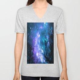 Black Trees Violet Teal Space Unisex V-Neck
