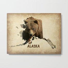 Alaskan Grizzly Map Metal Print