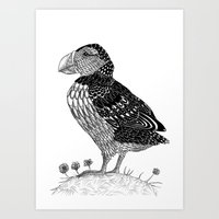 puffin Art Prints featuring Puffin by Ameza-Art