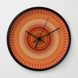 Vintage Orange Mandala Wall Clock