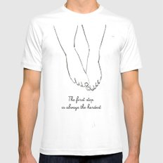 step White SMALL Mens Fitted Tee