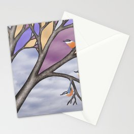 red breasted nuthatches in the stained glass tree Stationery Cards