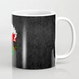 Flag of Wales on a Chaotic Splatter Skull Coffee Mug