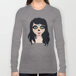 Day of the Dead Girl Illustration Long Sleeve T-shirt