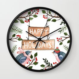Holiday Birds Wall Clock