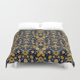 Navy Blue, Turquoise, Cream & Mustard Yellow Dark Floral Pattern Duvet Cover