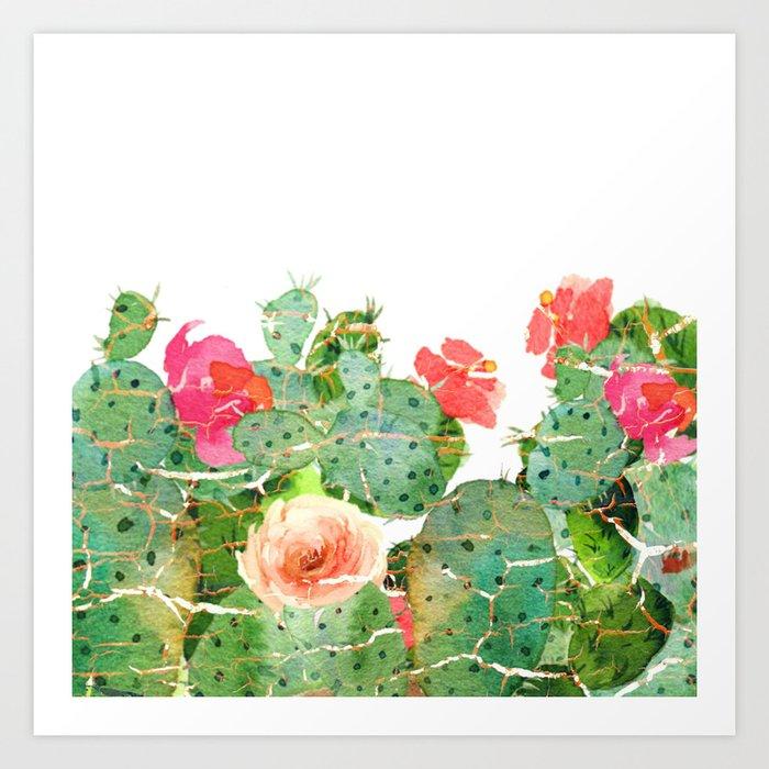 scratched cactus Art Print