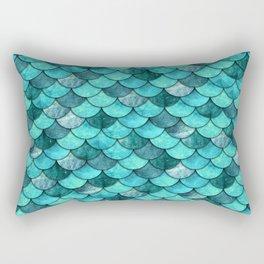 Mermaid Scales Turquoise Rectangular Pillow