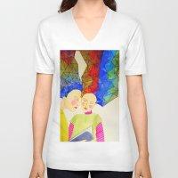 les mis V-neck T-shirts featuring les soeurs by sylvie demers