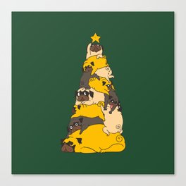 Christmas Tree Pugs Canvas Print