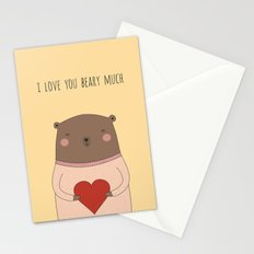 I LOVE YOU BEARY MUCH Stationery Cards