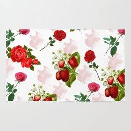 Roses and Strawberry Pattern Rug