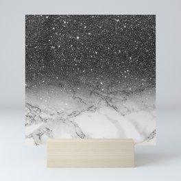 Stylish faux black glitter ombre white marble pattern Mini Art Print