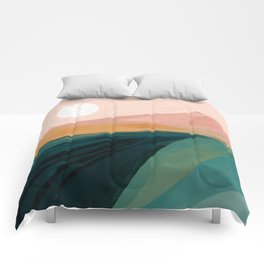 pink, green, gold moon watercolor mountains Comforters