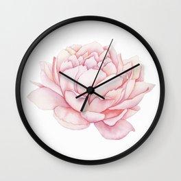 Pink Peony Watercolor Wall Clock