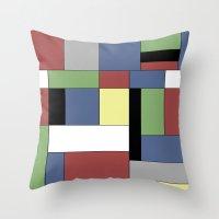 mondrian Throw Pillows featuring Mondrian #5 by Ron (Rockett) Trickett