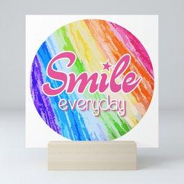 Smile Everyday, Happy sticker, Cute sticker, crayon colors, pink version Mini Art Print