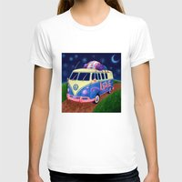 hippie T-shirts featuring Hippie Van by whiterabbitart