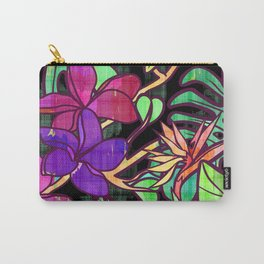Tropical leaves and flowers, jungle print Carry-All Pouch