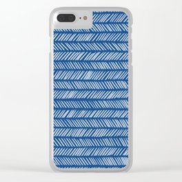 Prussian Blue Small Herringbone Drawing Clear iPhone Case