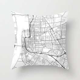 Baton Rouge Map, USA - Black and White Throw Pillow