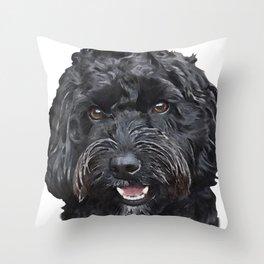 Black Cockapoo / Doodle Dog Portrait  Throw Pillow