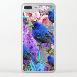Spring  Blue  Birds Garden Floral Pattern Clear iPhone Case